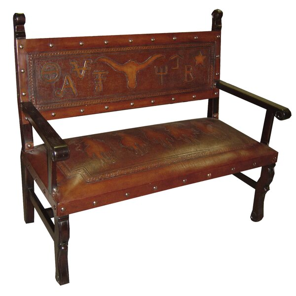 Tylersburg Heritage Leather Bench by Astoria Grand