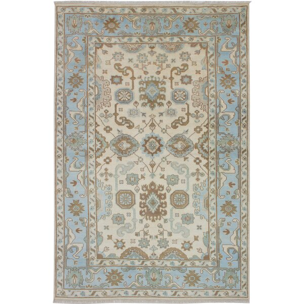 One-of-a-Kind Doggett Hand-Knotted Wool Cream/Blue Area Rug by Isabelline
