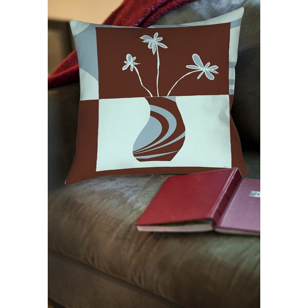 Minimalist Flowers 4 Printed Throw Pillow by Manual Woodworkers & Weavers