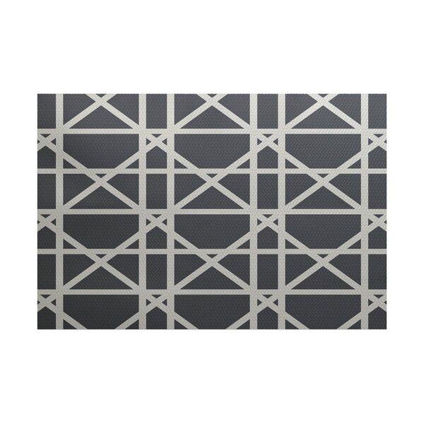 Felles Geometric Print Gray Indoor/Outdoor Area Rug by Breakwater Bay