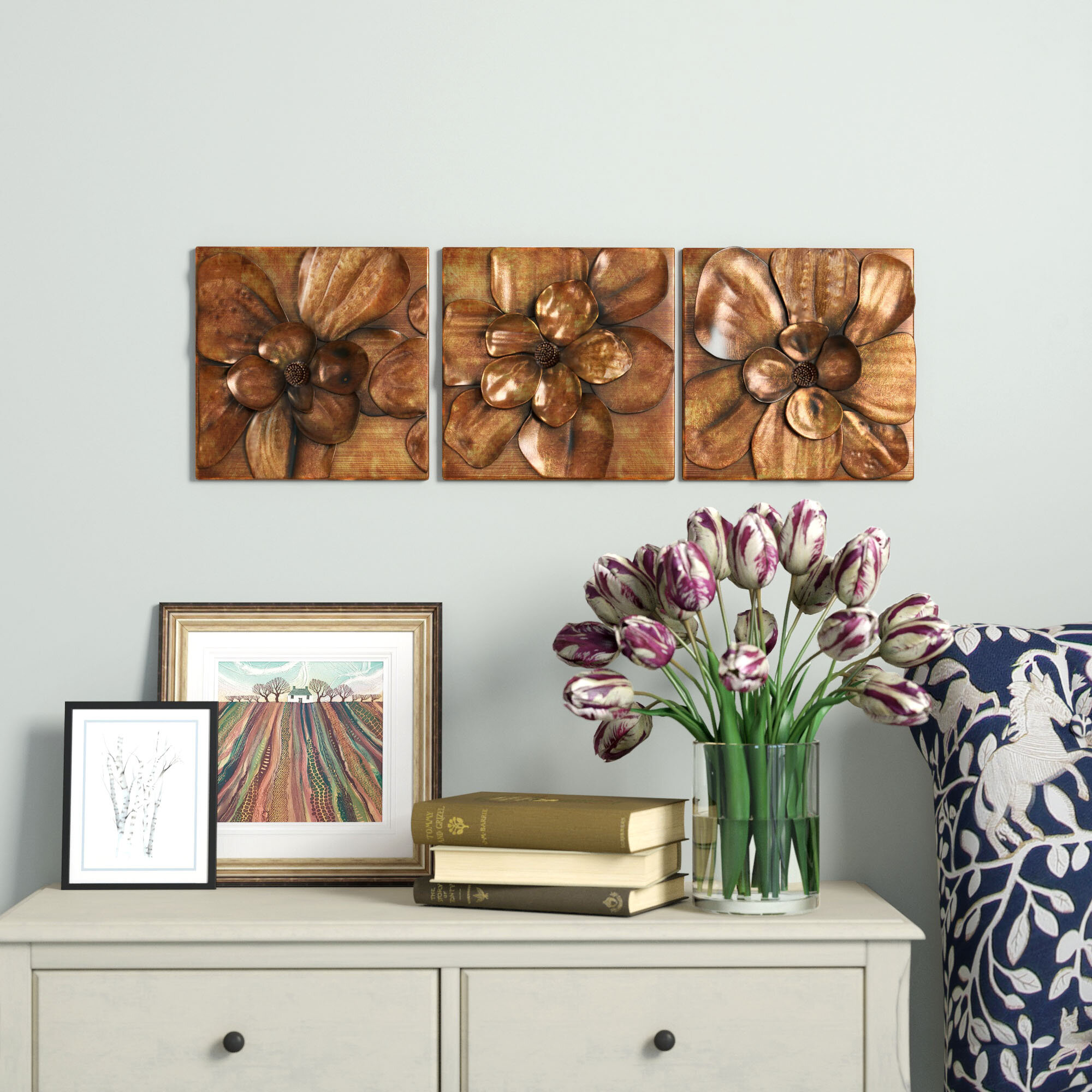 3 piece magnolia brown panel wall décor set