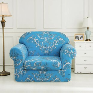 Printed Floral Box Cushion Armchair Slipcover