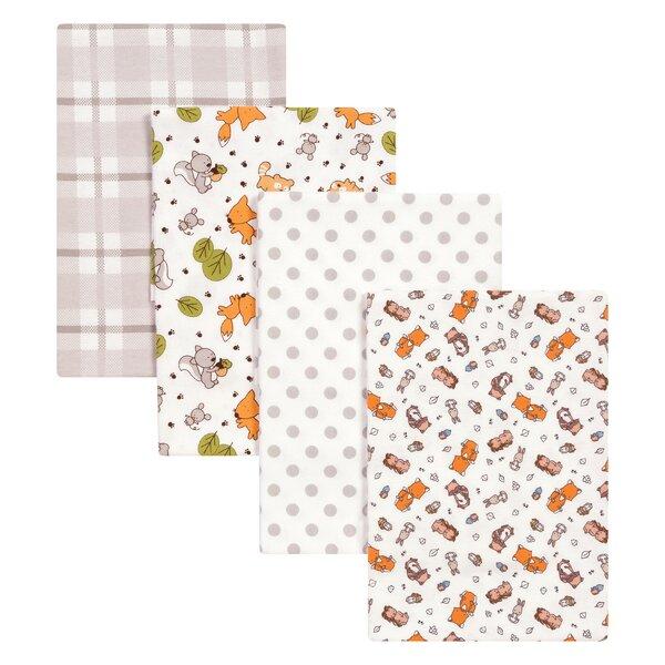 4 Piece Wild Bunch Flannel Blanket Set by Trend Lab