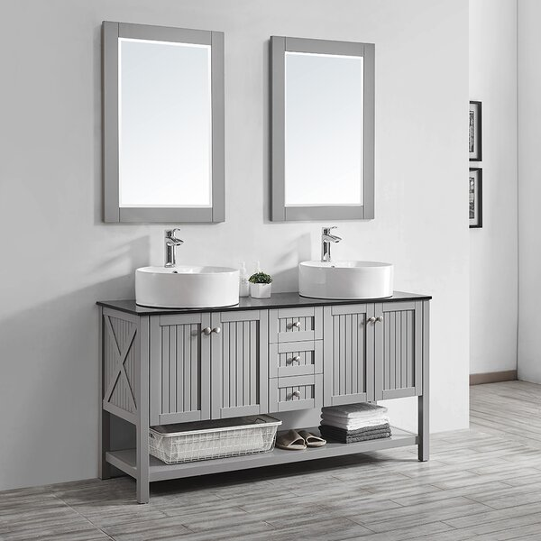 Nadler 60 Double Bathroom Vanity Set with Mirror by Beachcrest Home