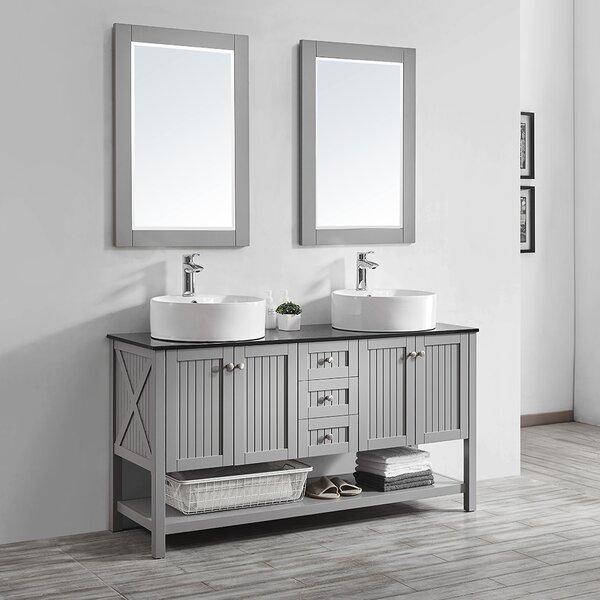 Nadler 60 Double Bathroom Vanity Set with Mirror by Beachcrest Home