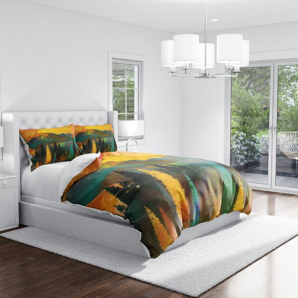Enos Watercolor Sunset Forest Duvet Cover Set