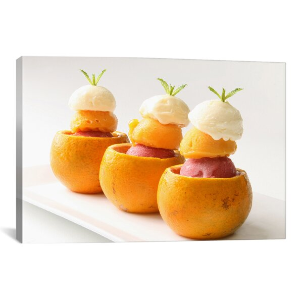 Food and Cuisine Ice Cream Balls Inside Oranges Photographic Print on Canvas by iCanvas