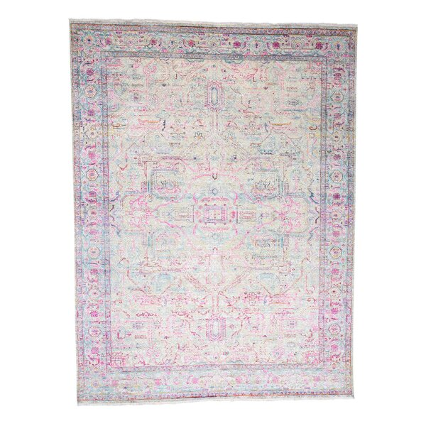 One-of-a-Kind Channing The Pink Sari with Oxidized Oriental Hand-Knotted Silk Ivory Area Rug by World Menagerie