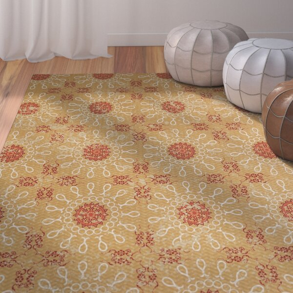 Soluri Gold / Orange Area Rug by Bungalow Rose