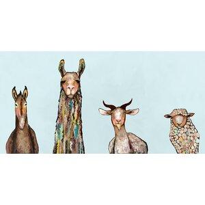 'Donkey, Llama, Goat, Sheep' on Blue Background Print on Wrapped Canvas by Latitude Run
