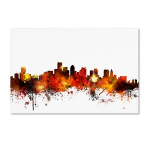Boston Massachusetts Skyline II by Michael Tompsett Graphic Art on Wrapped Canvas by Trademark Fine Art