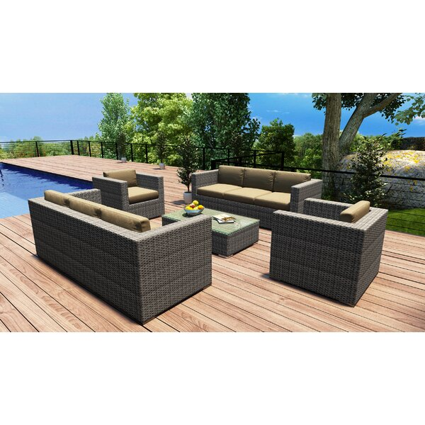 Hobbs 5 Piece Double Sofa Set with Cushions by Rosecliff Heights