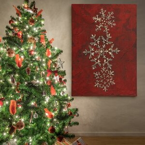 'Snowflakes on Red I' Photographic Print on Wrapped Canvas by The Holiday Aisle