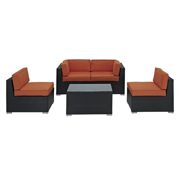 Delight 5 Piece Rattan Sofa Set with Cushions by Modway