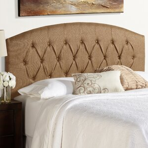 Sherburne Curved Golden Brown Upholstered Headboard by Three Posts