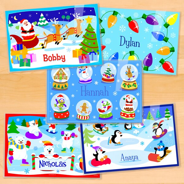 Christmas 5 Piece Personalized Placemat Set by Olive Kids