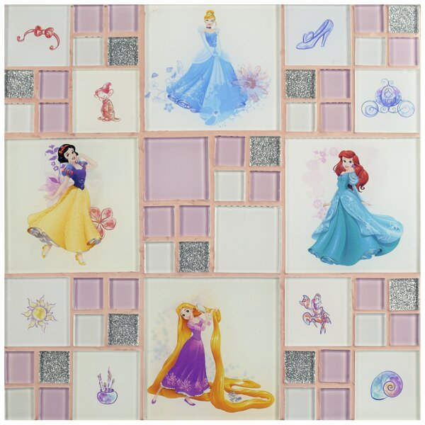 Disney Princesses Random Sized Glass Mosaic Tile in Ice White by EliteTile