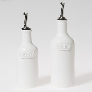 Fresh 2 Piece Oil and Vinegar Cruet Set By Viva by Vietri