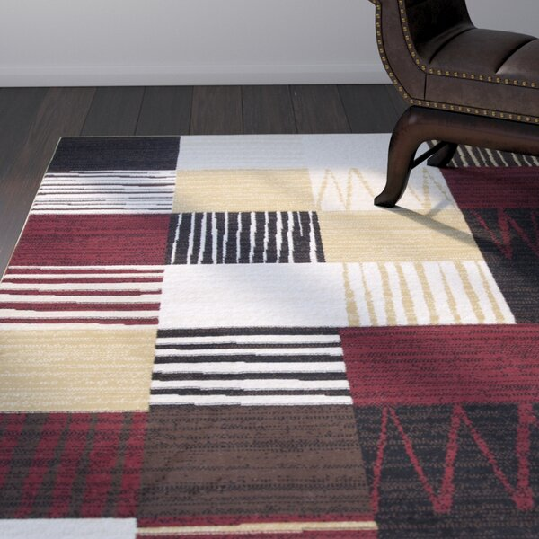 Winslow Black/Red/Gold Area Rug by World Menagerie