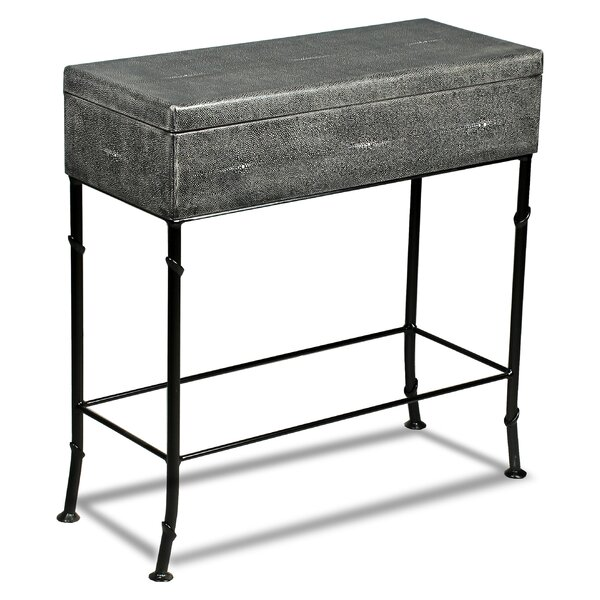 Doran Leather Shagreen End Table By Alcott Hill