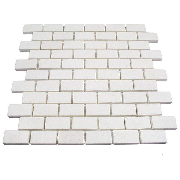 Thassos Brick Joint 1 x 2 Marble Mosaic Tile in White by Splashback Tile