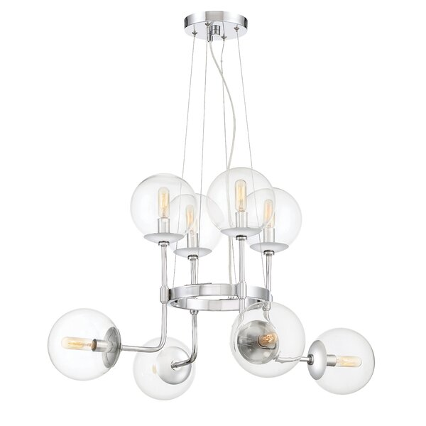 Caudill 8-Light Shaded Wagon Wheel Chandelier By Orren Ellis