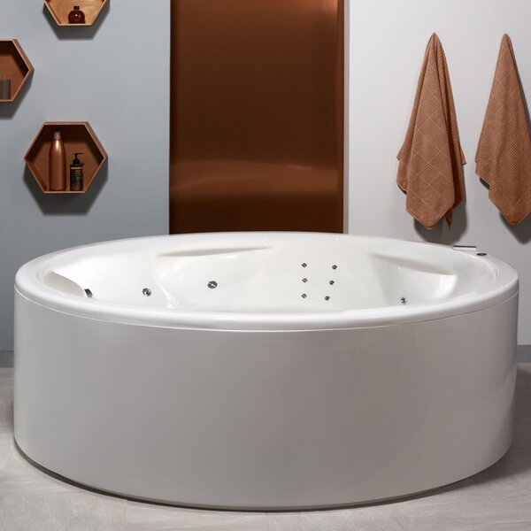 "Allegra 74.75"" x 74.75"" Freestanding Air/Whirlpool Bathtub by Aquatica"