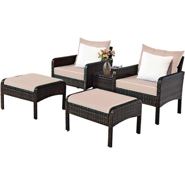 Arleon Patio 5 Piece Rattan Seating Group