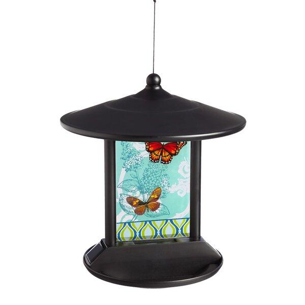 Butterflies in Flight Solar Tray Bird Feeder by Evergreen Flag & Garden