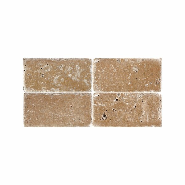 Tumbled 3 x 6 Natural Stone Subway Tile in Expresso by Parvatile