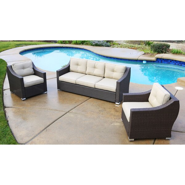 Tampa Standard 3 Piece Sofa with Cushion by World Wide Wicker