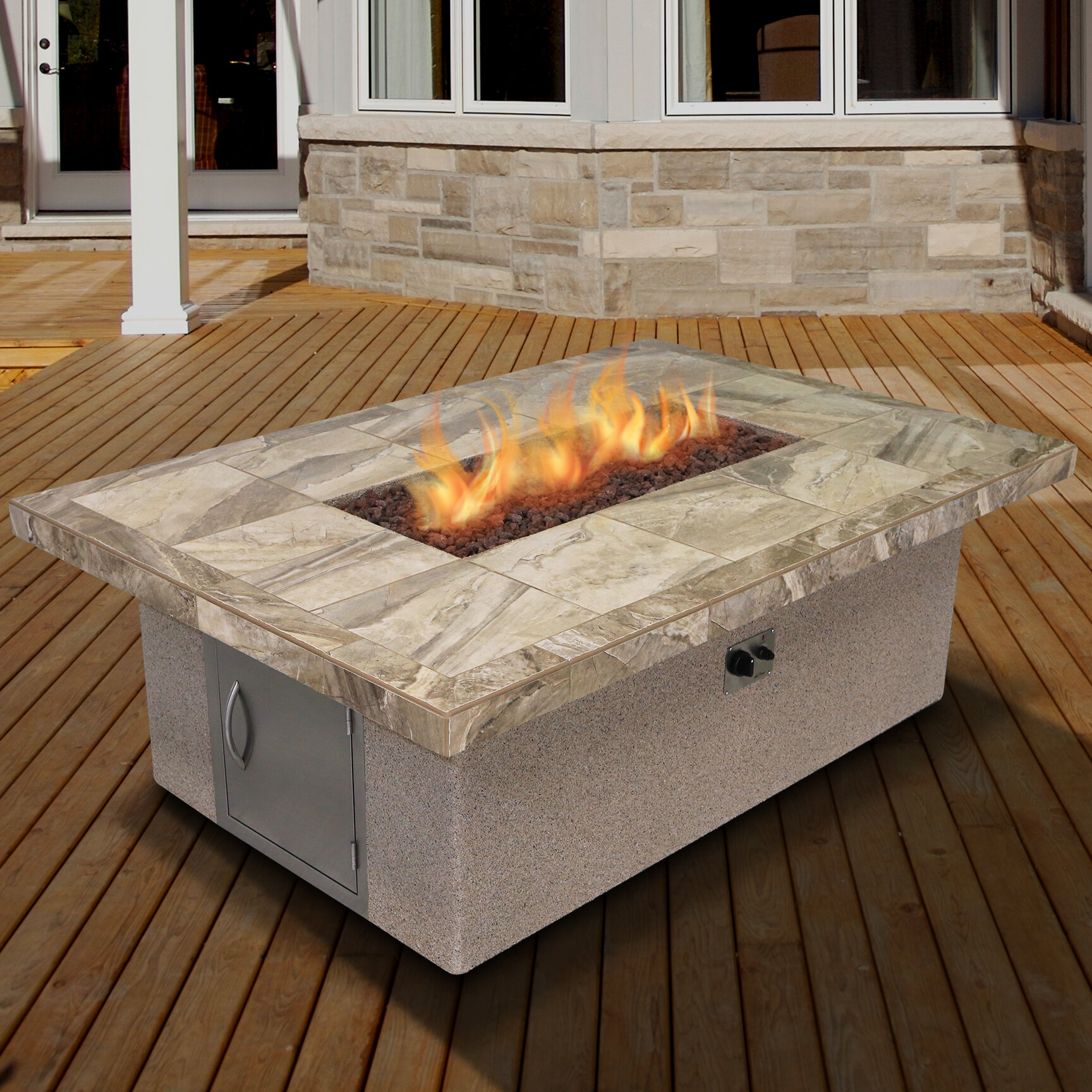 Cal Flame Stucco And Tile Rectangle Steel Propane Fire Pit Table Wayfair