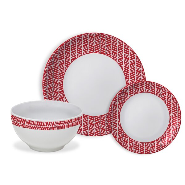 Bulloch Chevrons 12 Piece Dinnerware Set, Service for 4 by Ebern Designs