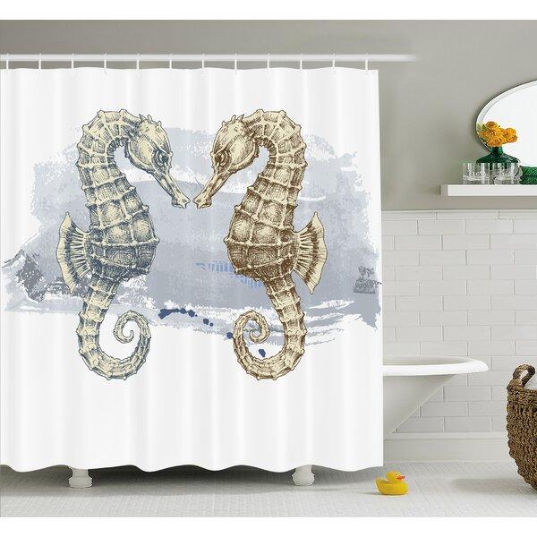 Animal Seahorse Lovers in Paintbrush Artisan Technique Grunge Splash on Background Shower Curtain Set by Ambesonne
