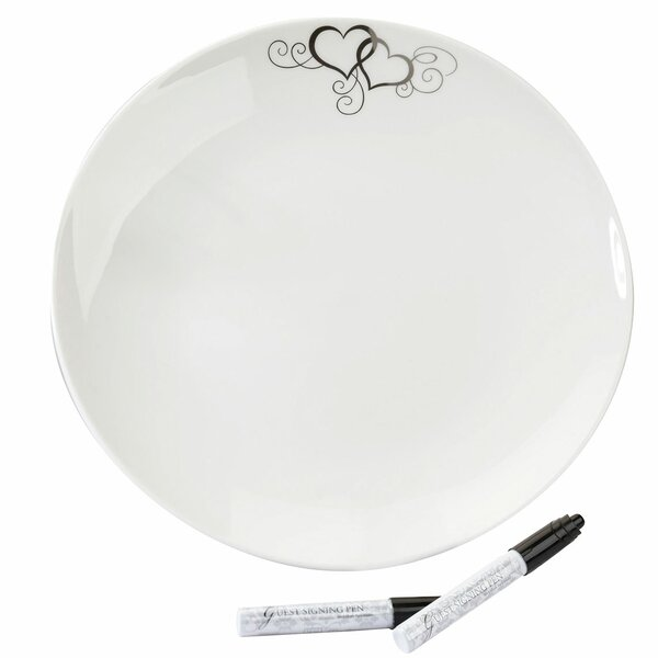 Round Signing Platter with 2 Pens by Lillian Rose