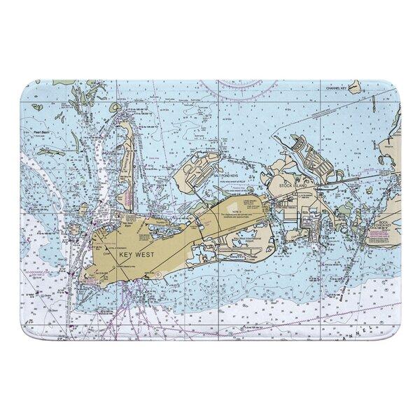 Nautical Chart Key West FL Rectangle Memory Foam Non-Slip Bath Rug