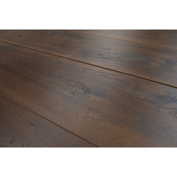 Geneva 9 x 48 x 12mm Hickory Laminate Flooring in Dark Brown by Branton Flooring Collection