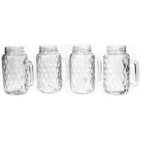 Treasure 24 oz. Handled Mason Mug Set (Set of 4) by Circle Glass