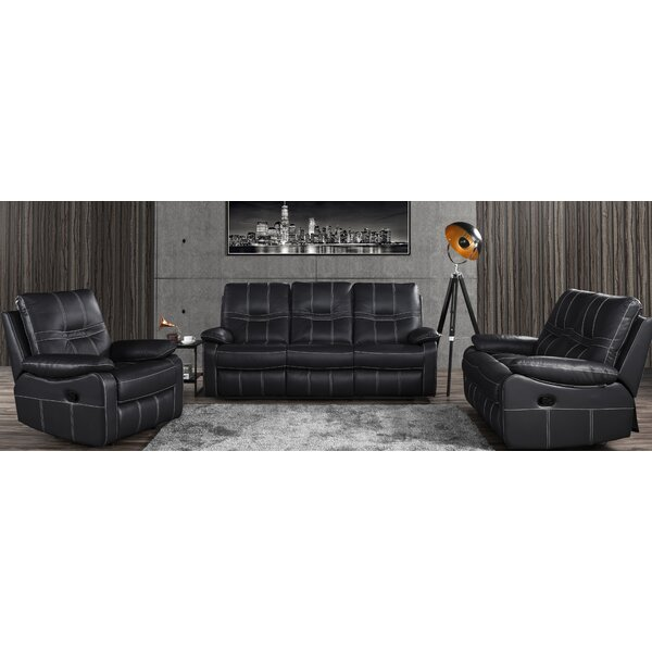 Mallon Reclining Reclining 3 Piece Leather Living Room Set by Latitude Run