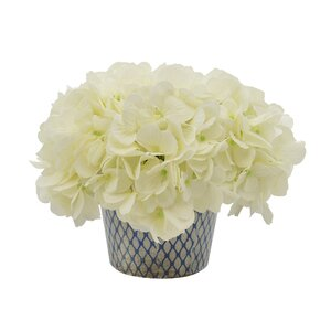 Hydrangea Floral Arrangement in Diamond Pattern Pot