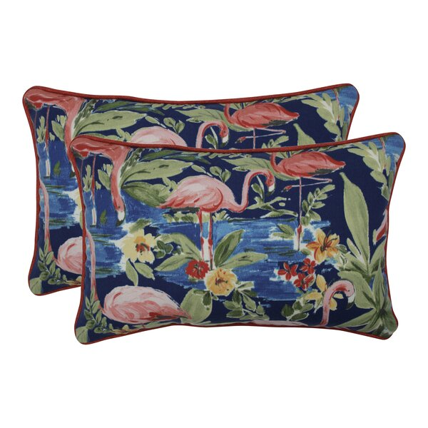 Orinda Flamingoing Lagoon Indoor/Outdoor Lumbar Pillow (Set of 2)