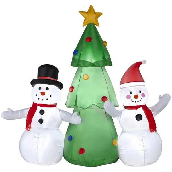 Snowman Family Standing By Tree Christmas Oversize