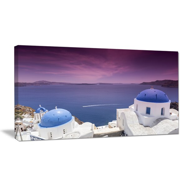 Blue Domed Churches on Caldera Photographic Print on Wrapped Canvas by Design Art