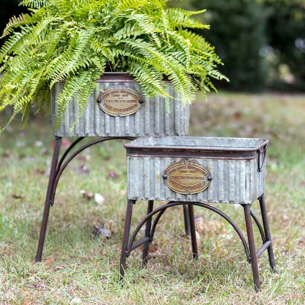 Malek Tubs 2 Piece Metal Raised Garden Set by Gracie Oaks
