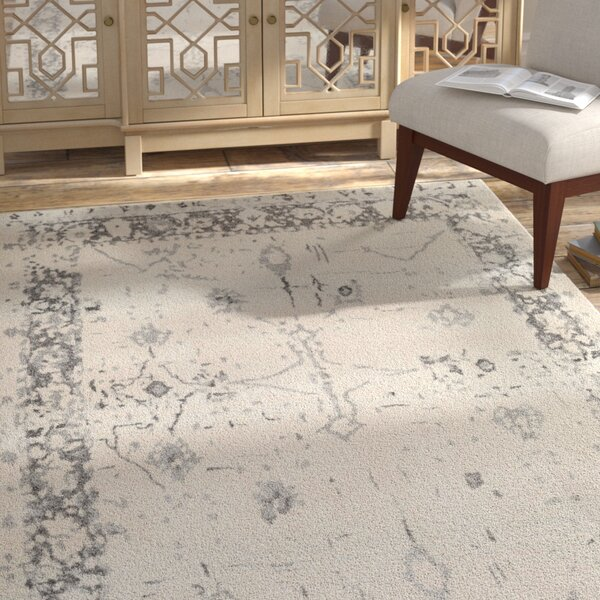 Ebenezer Distressed Vintage Butter/Gray Area Rug by Bungalow Rose