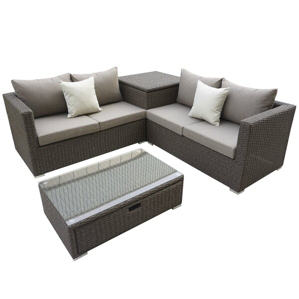 Brinkley 4 Piece Sectional Set with Cushions by Willa Arlo Interiors