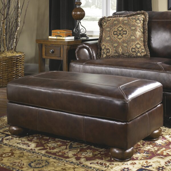 Stewartsville Leather Ottoman by Fleur De Lis Living