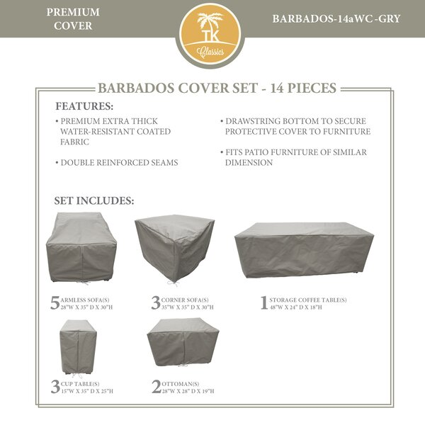 Barbados 14 Piece Water Resistant Patio Furniture Cover Set by TK Classics
