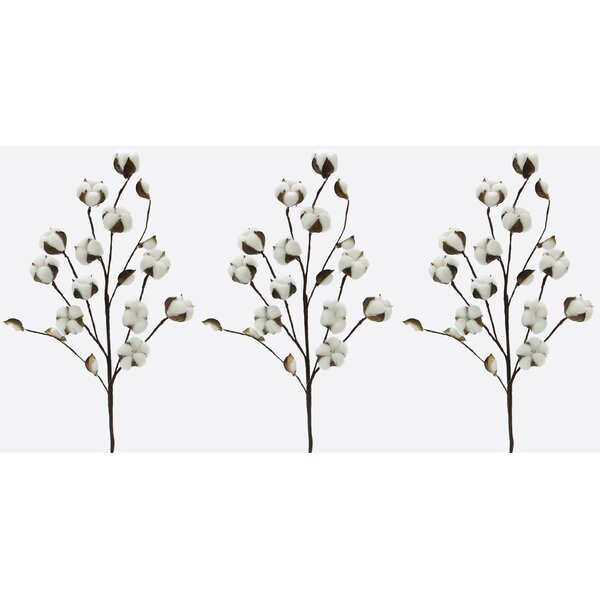 Faux Cotton Stem (Set of 3) by Gracie Oaks
