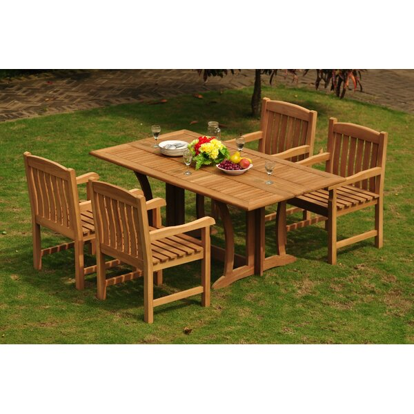 Espanola Luxurious 5 Piece Teak Dining Set by Rosecliff Heights